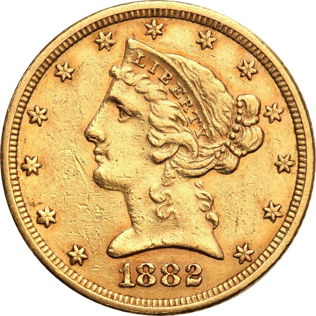 USA 5 dolarów 1884 Filadelfia st. 1-/2+