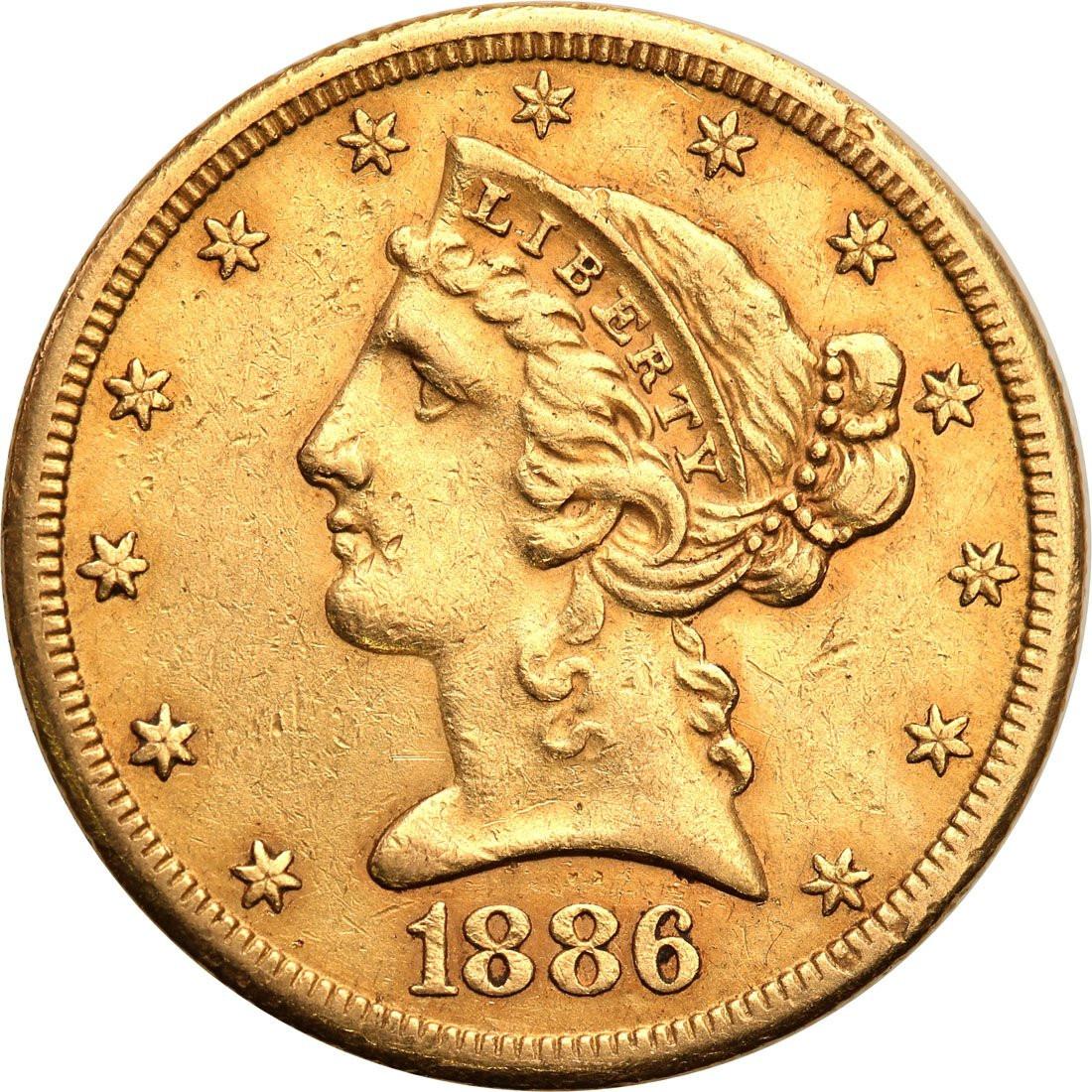 USA 5 dolarów 1886 S San Francisco st. 1-/2+