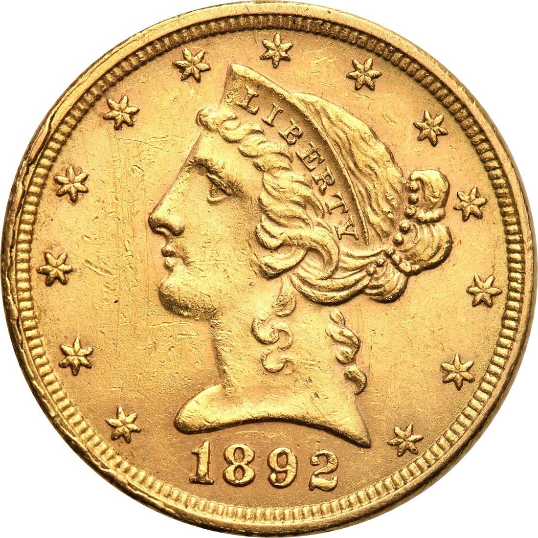 USA 5 dolarów 1892 Filadelfia st. 2+