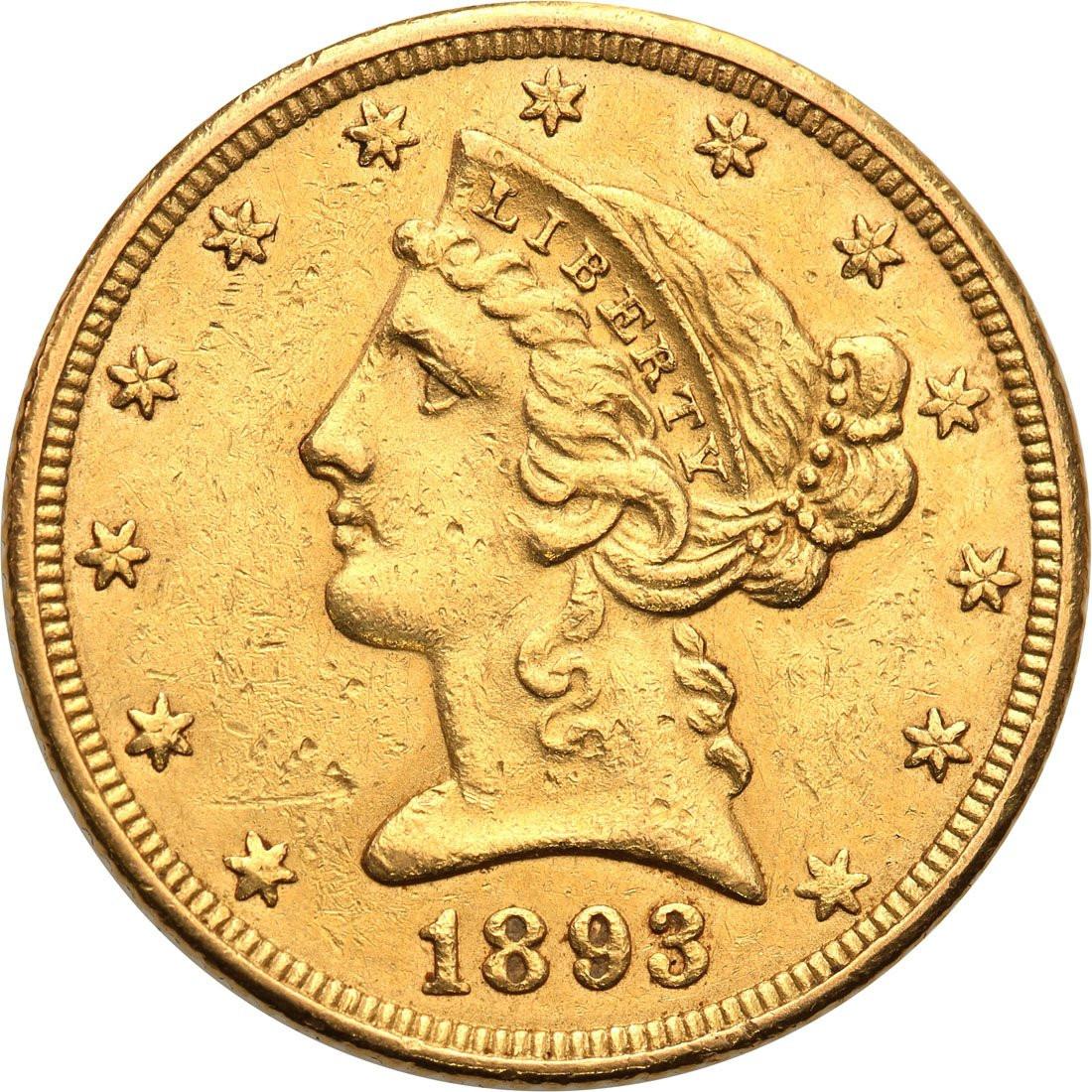 USA 5 dolarów 1893 Filadelfia st. 1-/2+