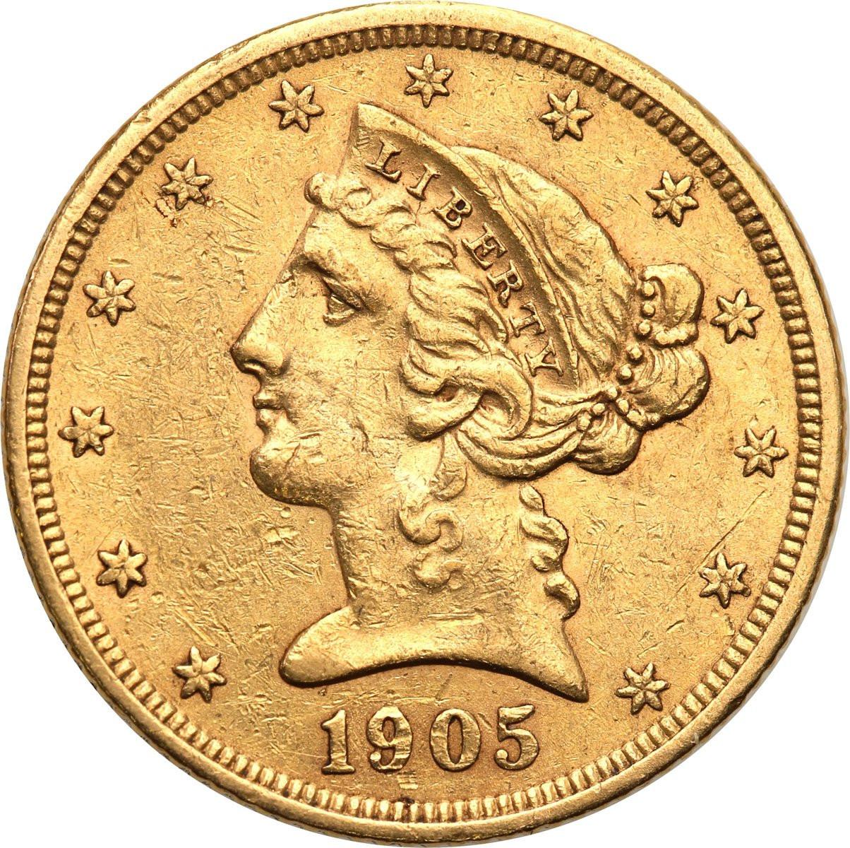 USA 5 dolarów 1905 S San Francisco st. 2+