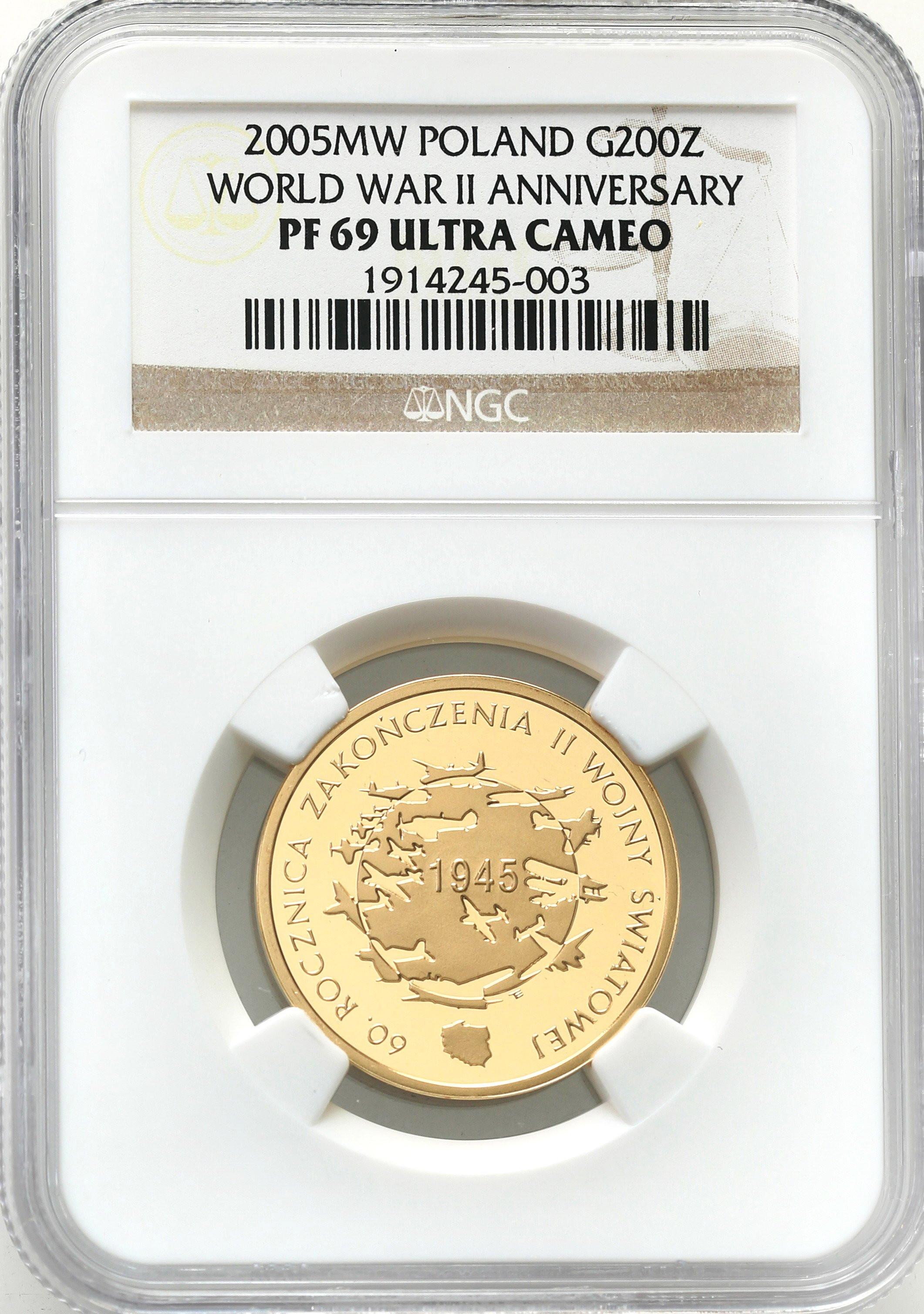200 złotych 2005 Zakończenie II Wojny Światowej NGC PF69 ULTRA CAMEO (2 MAX)