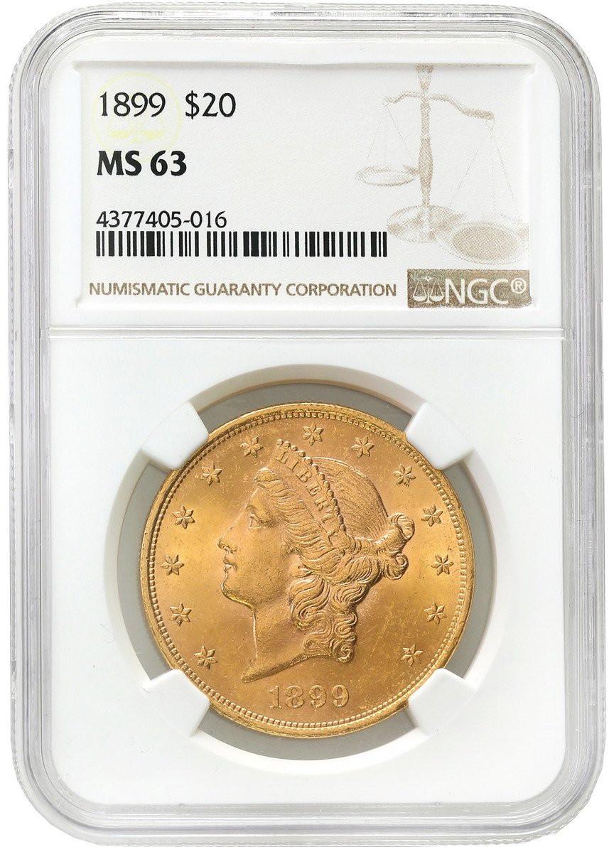 USA. 20 dolarów 1899 Filadelfia Liberty NGC MS63