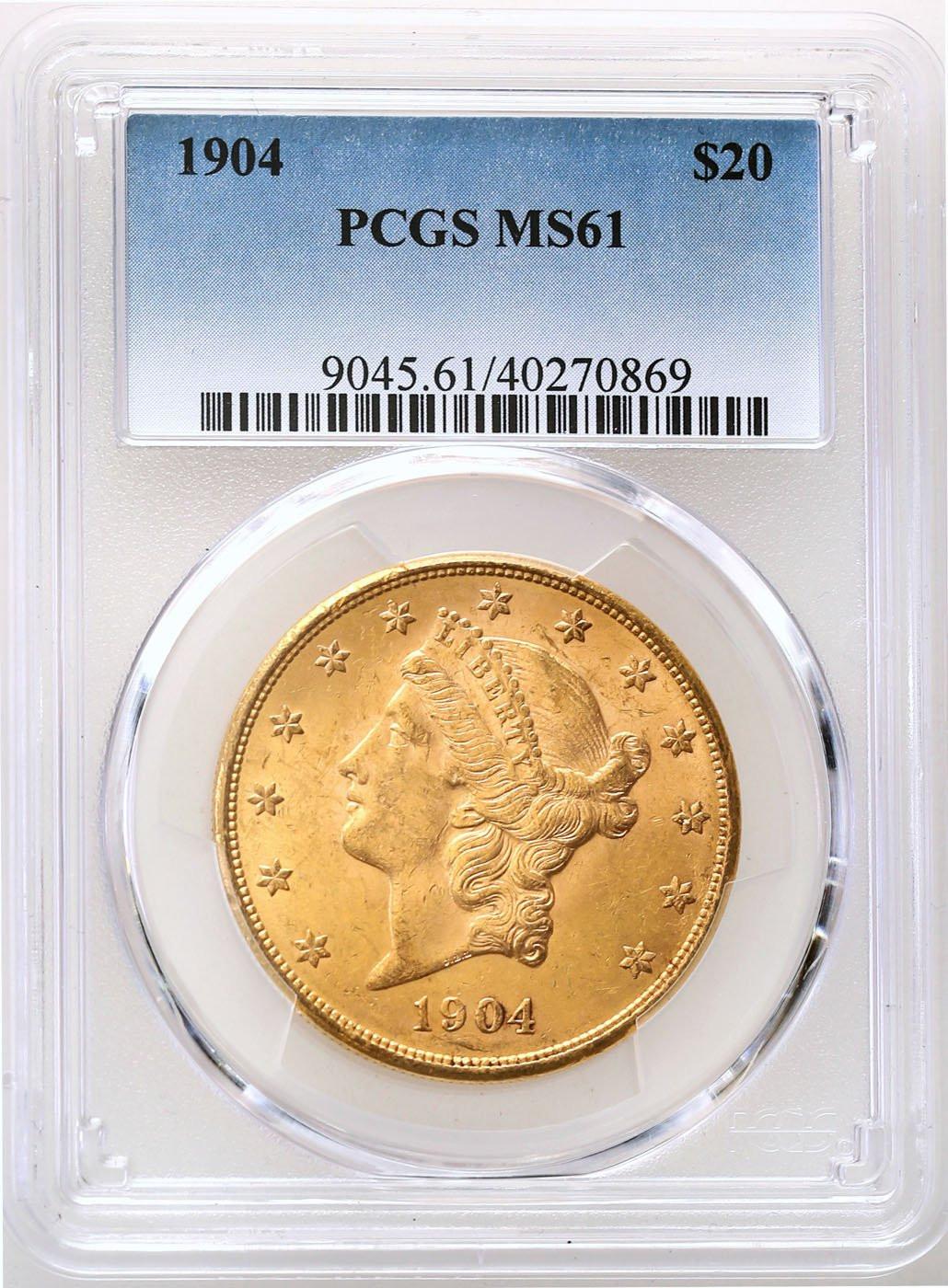 USA. 20 dolarów 1904 Filadelfia Liberty PCGS MS61