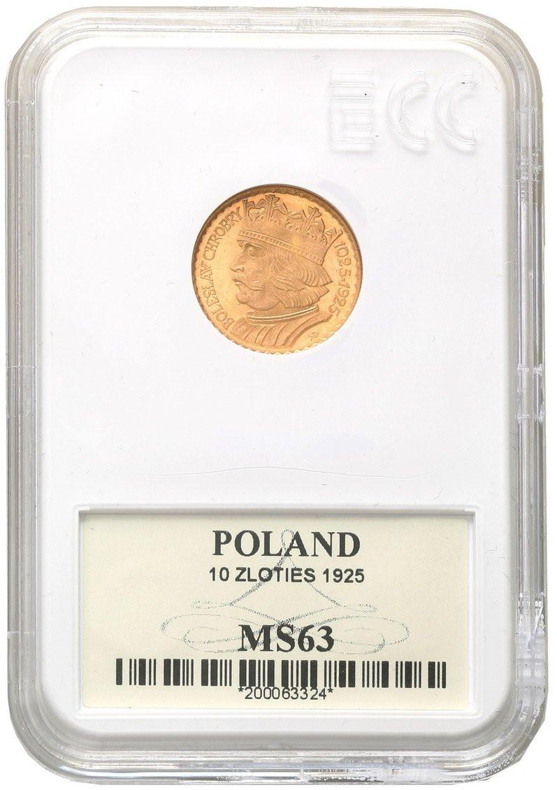 II RP. 10 złotych 1925 Chrobry Grading MS63