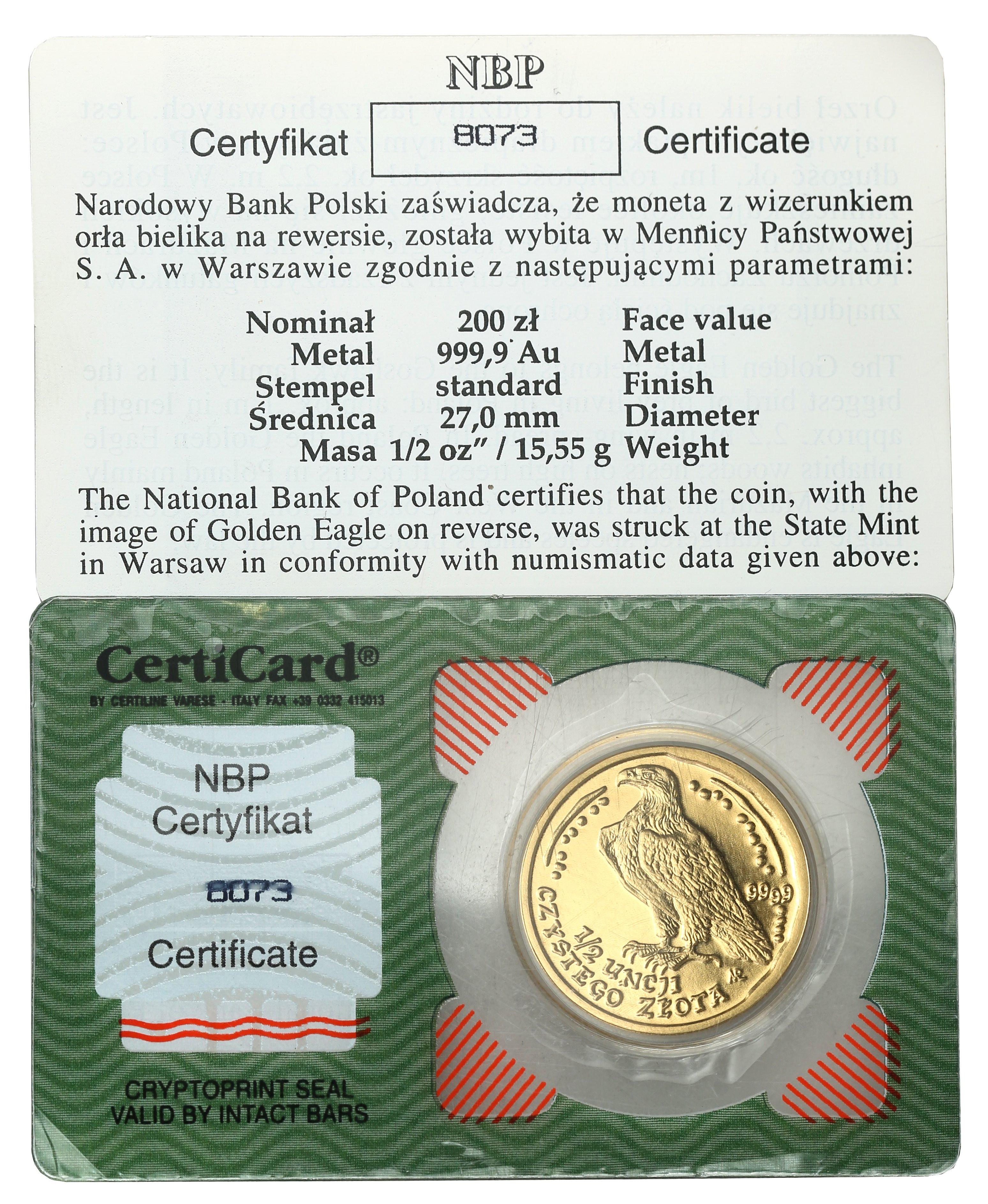 III RP 200 złotych 2004 Orzeł Bielik (1/2 uncji złota)