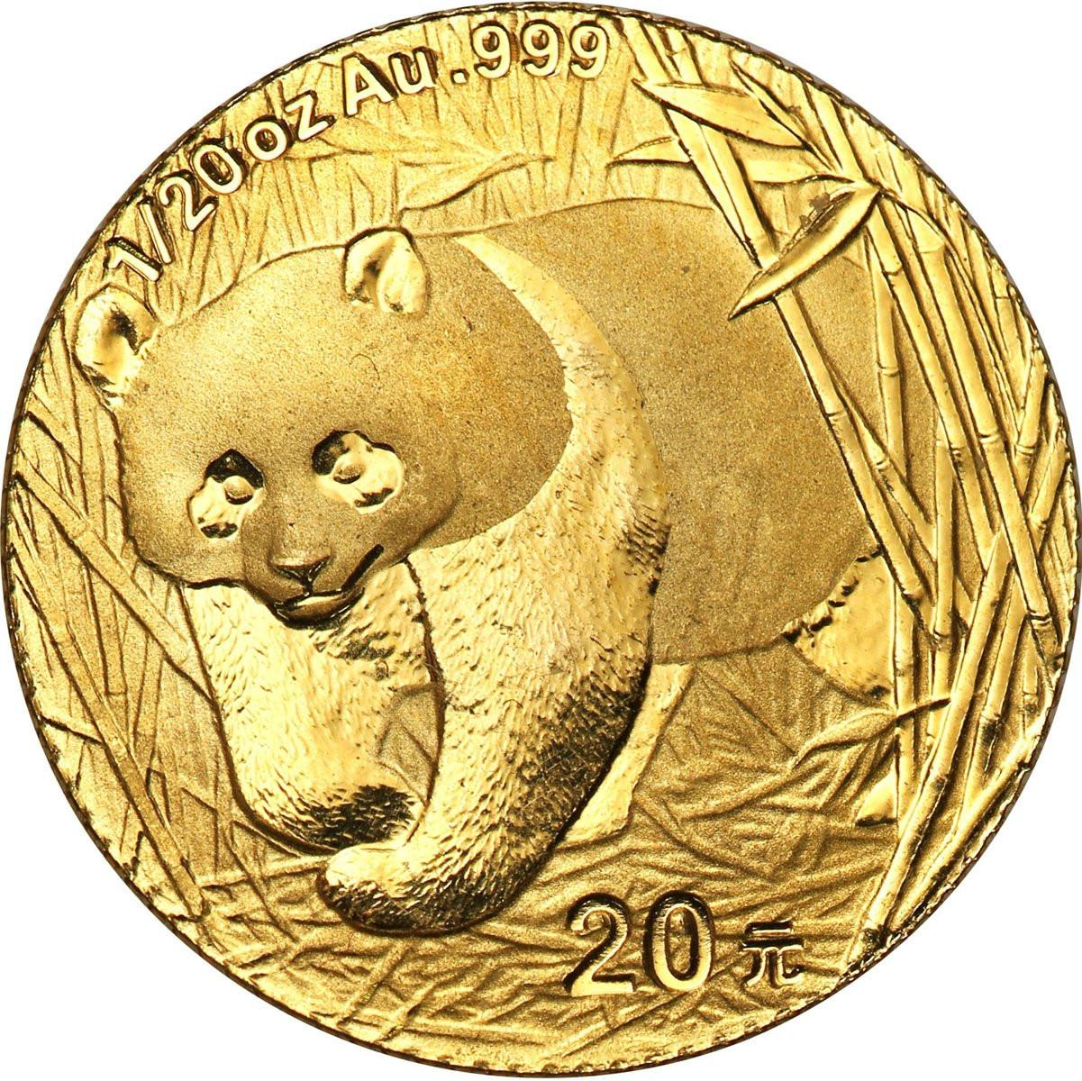 Chiny 20 Yuan 2002 Panda (1/20 uncji Au) st. L
