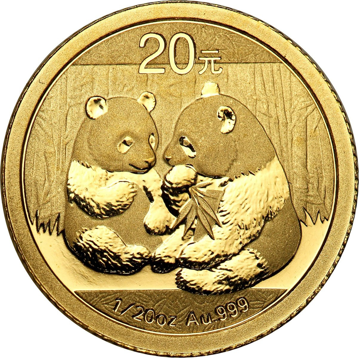 Chiny 20 Yuan 2009 Panda (1/20 uncji Au) st. L