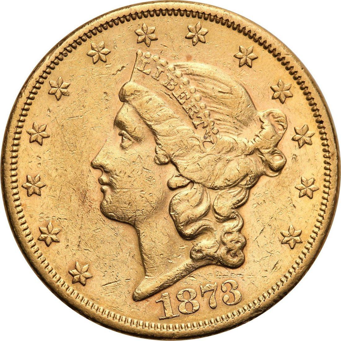 USA 20 dolarów 1873 San Francisco TWENTY D otwarta cyfra 3 st. 2-