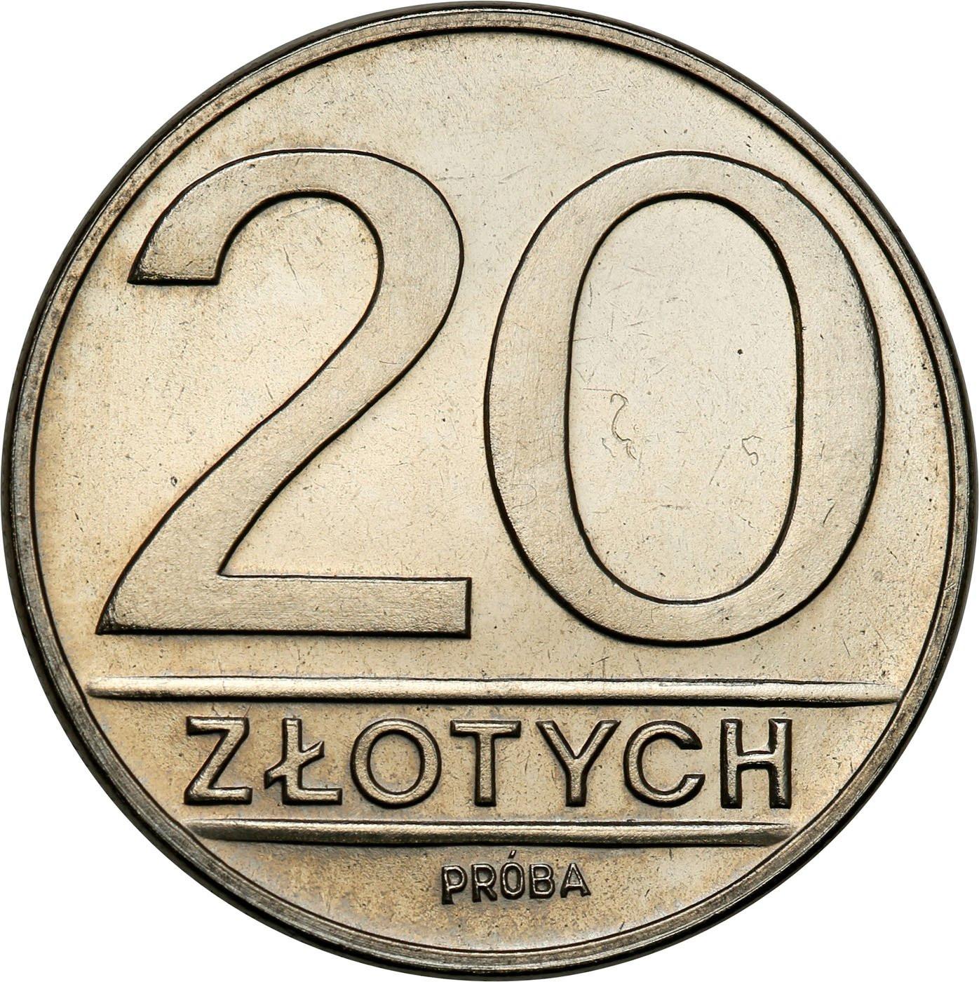 PRL. PRÓBA Nikiel 20 złotych 1984 nominał