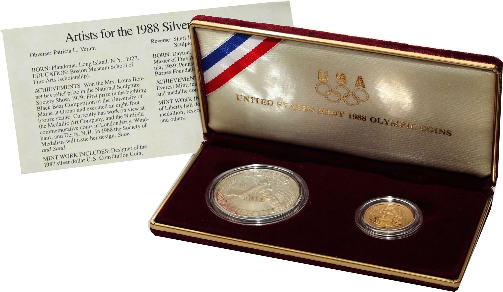 USA. 1 - 5 dolarów 1988 - Igrzyska Olimpijskie ZŁOTO + srebro