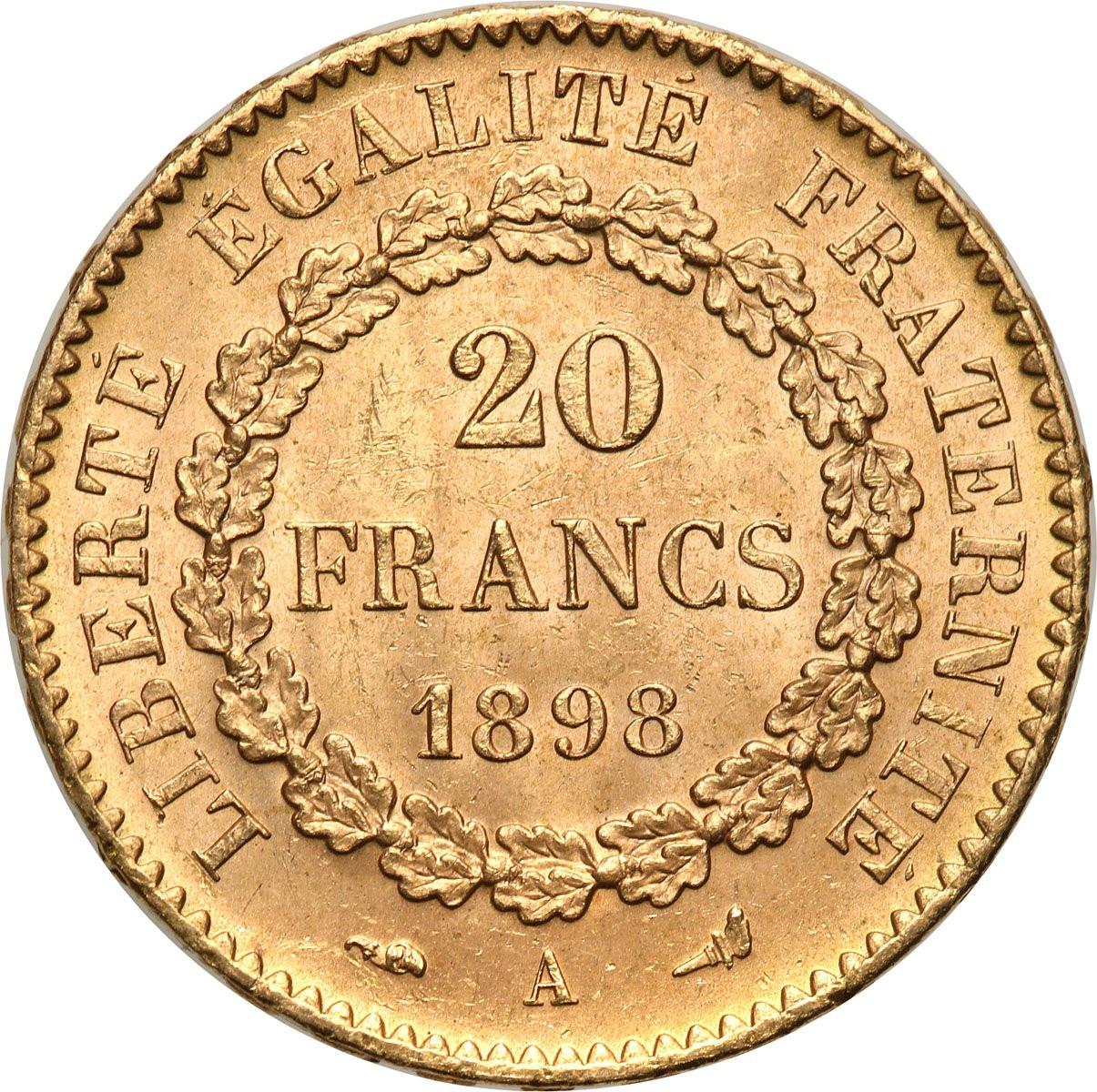 Francja Republika 20 Franków 1898 A Paryż ANIOŁ