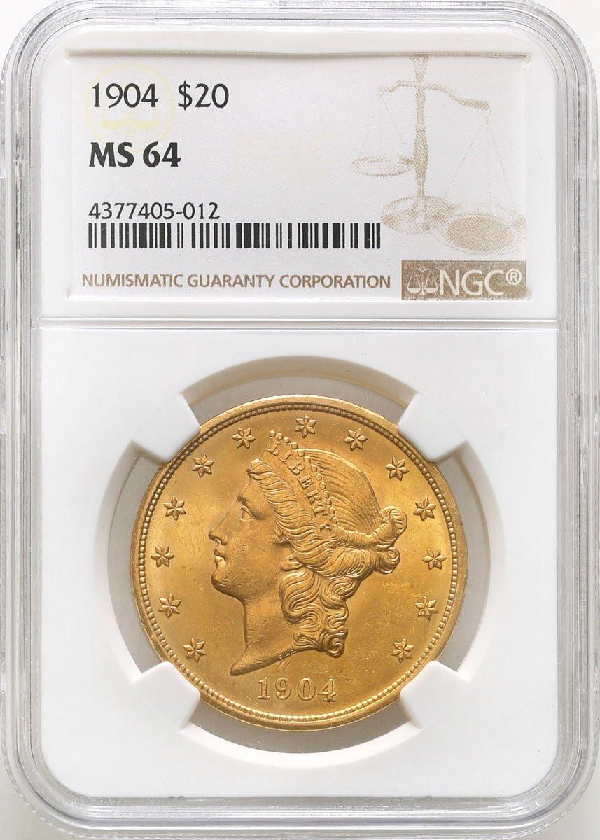 USA. 20 dolarów Liberty 1904 Filadelfia NGC MS64