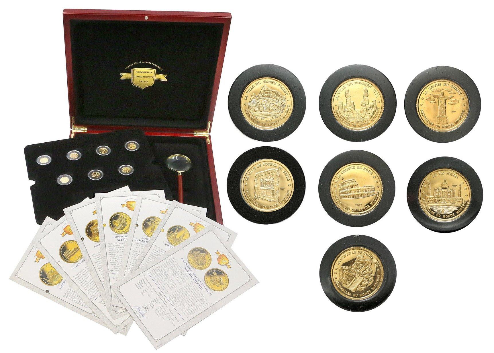 Wybrzeże Kości Słoniowej 1500 franków 2007 Najmniejsze złote monety świata 7 szt