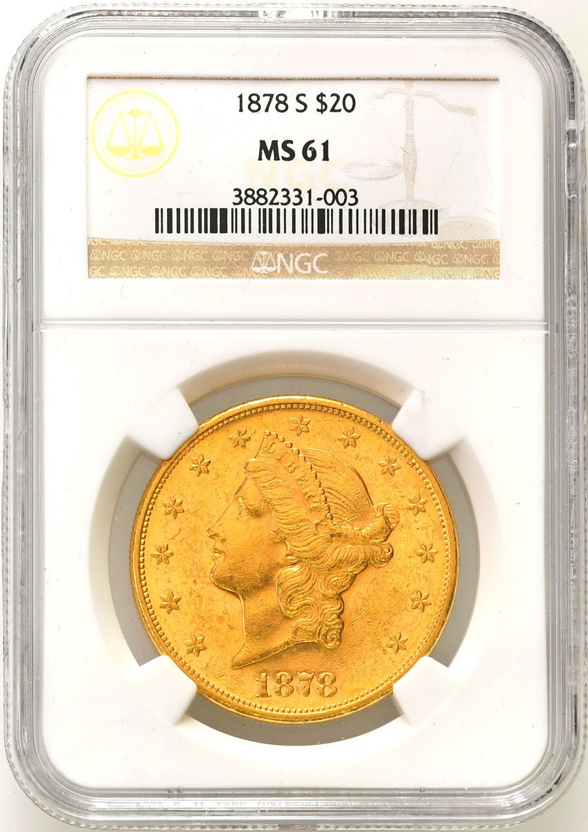 USA 20 dolarów 1878 S San Francisco NGC MS61