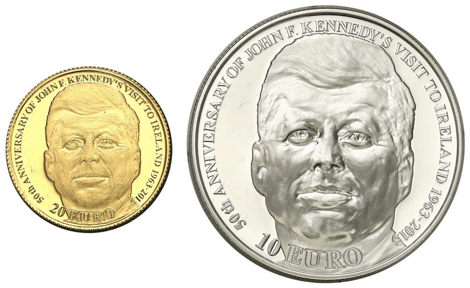 Irlandia. 20 Euro + 10 Euro John F. Kennedy 2013 - ZŁOTO + SREBRO