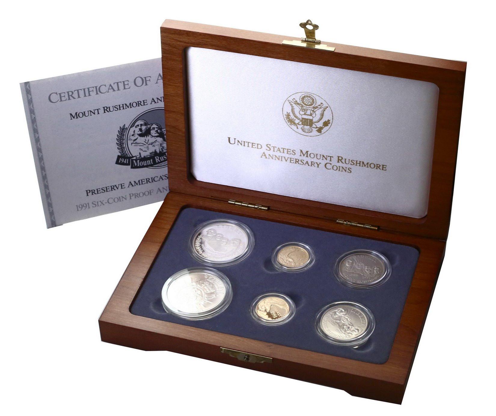 USA. Mount Rushmore - zestaw pamiątkowy Dolary 1991 - ZŁOTO + SREBRO