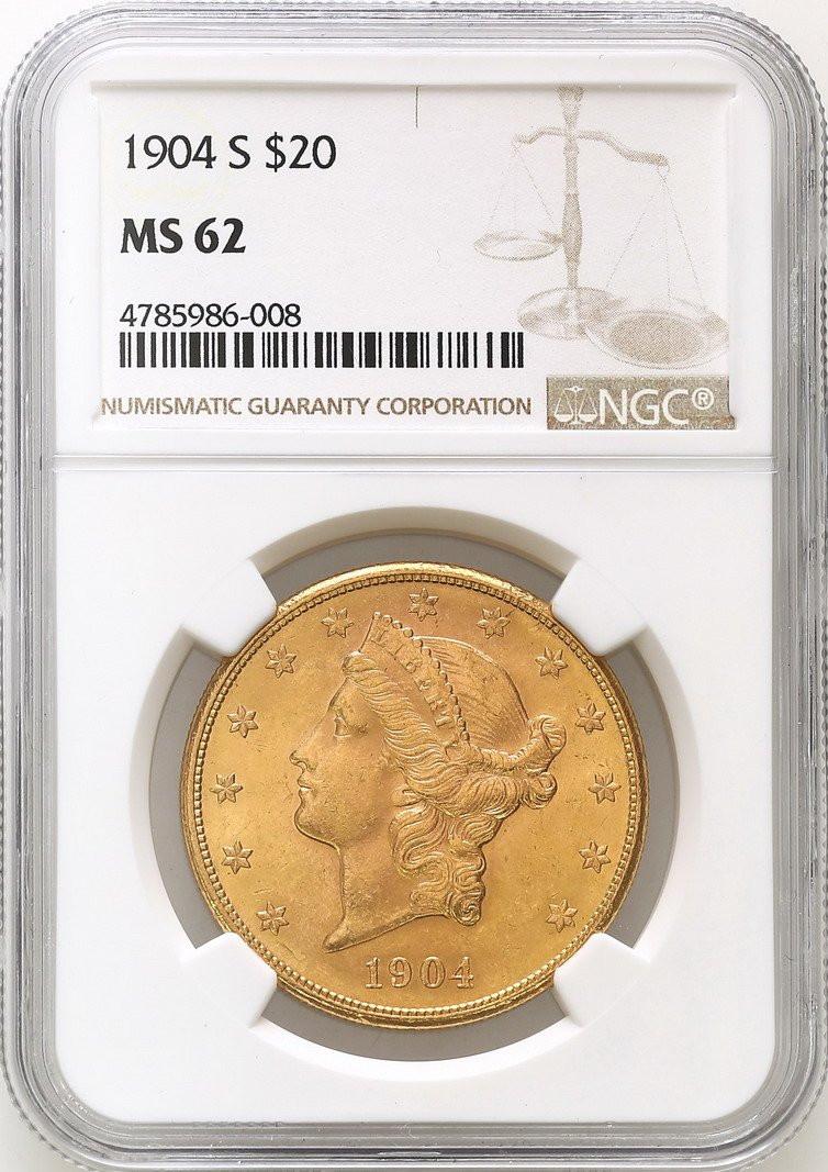 USA. 20 dolarów Liberty 1904 Filadelfia NGC MS62