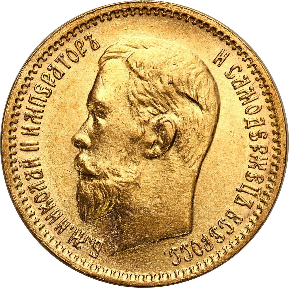 Rosja. Mikołaj II 5 rubli 1903 AP, Petersburg - PIĘKNE