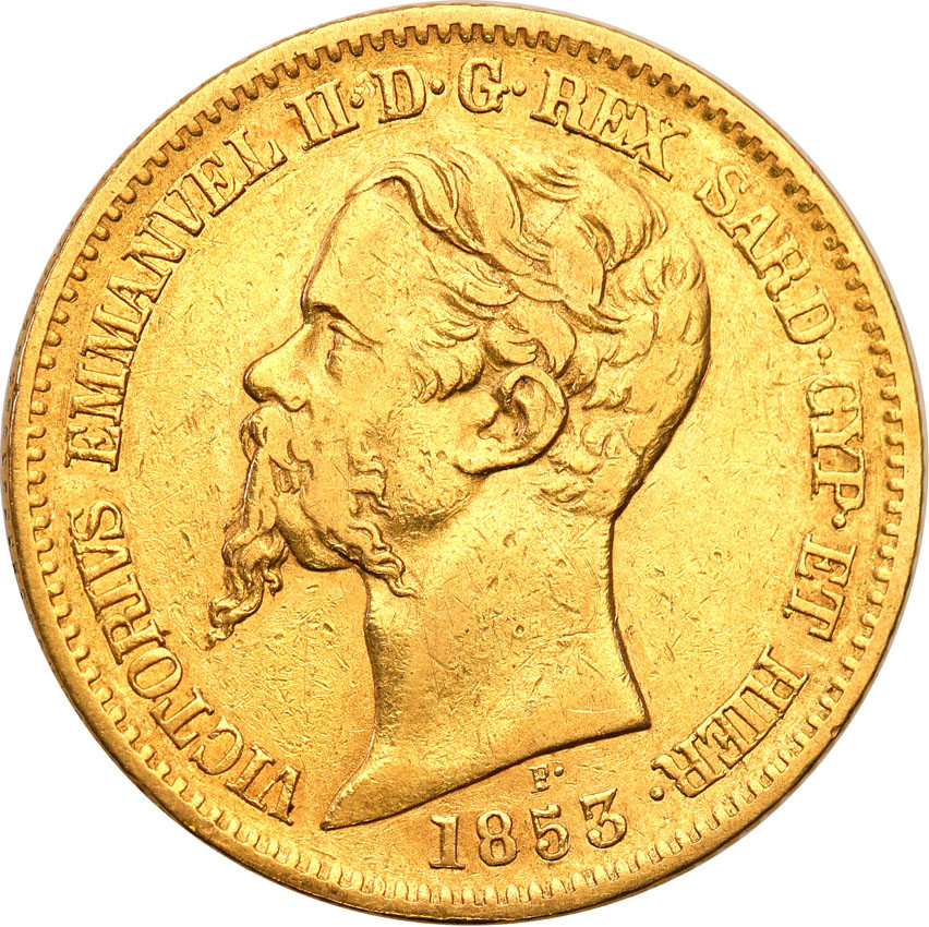 Włochy Sardynia 20 lirów 1853 kotwica st.3