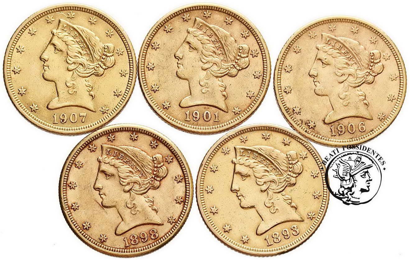 USA 5 dolarów Liberty, Indianin, różne roczniki st. 2-
