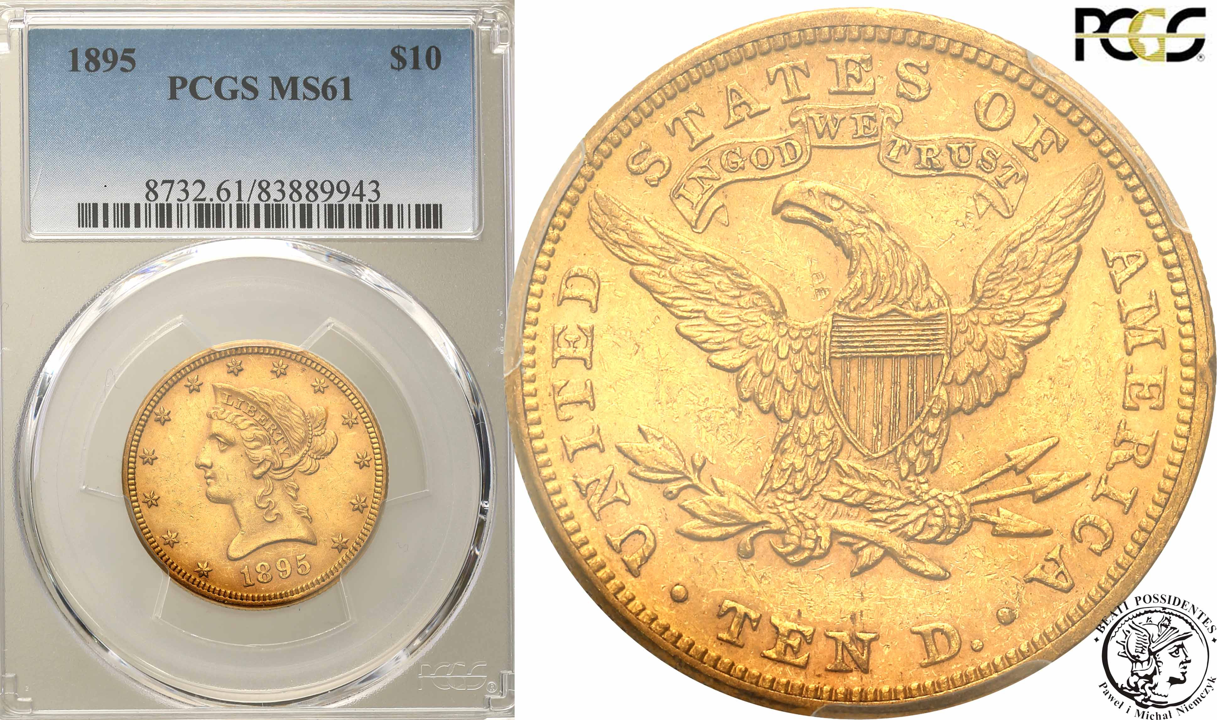 USA 10 dolarów 1895 PCGS MS61