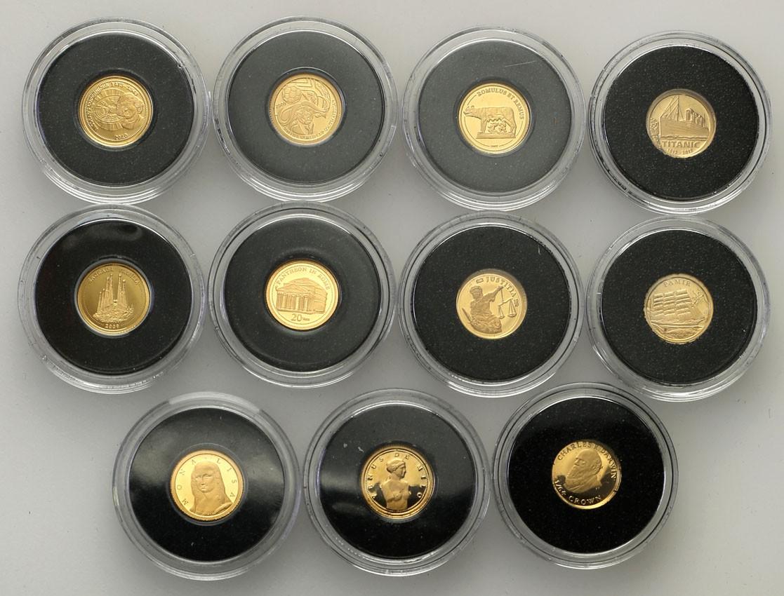 Świat najmniejsze monety złote 11 sztuk