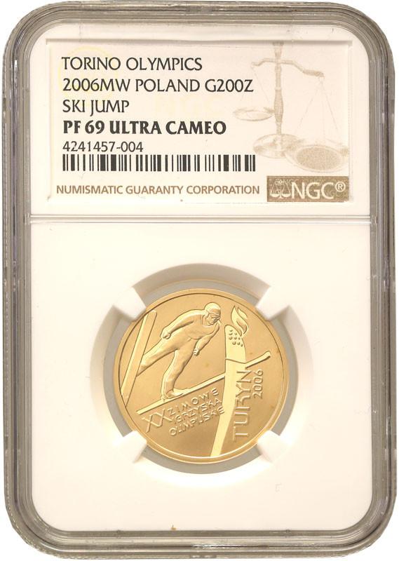 200 złotych 2006 XX Igrzyska Zimowe Turyn NGC PF 69 ULTRA CAMEO