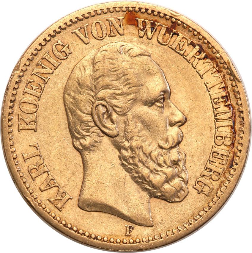 Niemcy Wirttembergia 20 Marek 1873 F st.2+ RZADKIE