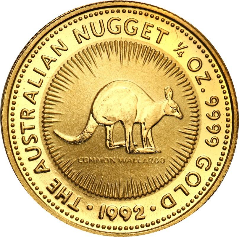 Australia Elżbieta II 25 dolarów 1992 Kangur (1/4 uncji złota Au.999) st. L