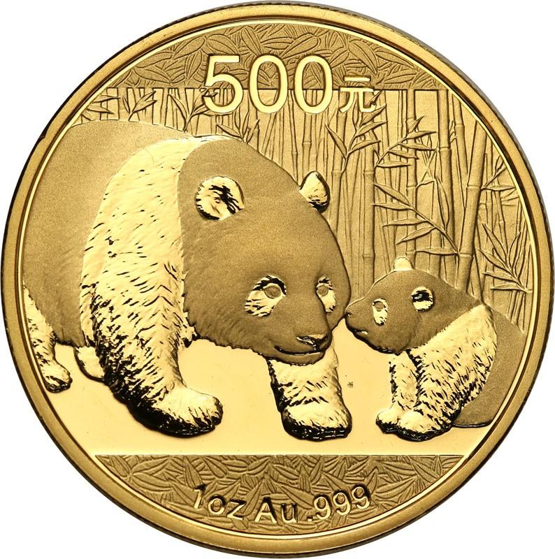 Chiny 500 Yuan 2011 panda uncja czystego złota st.1