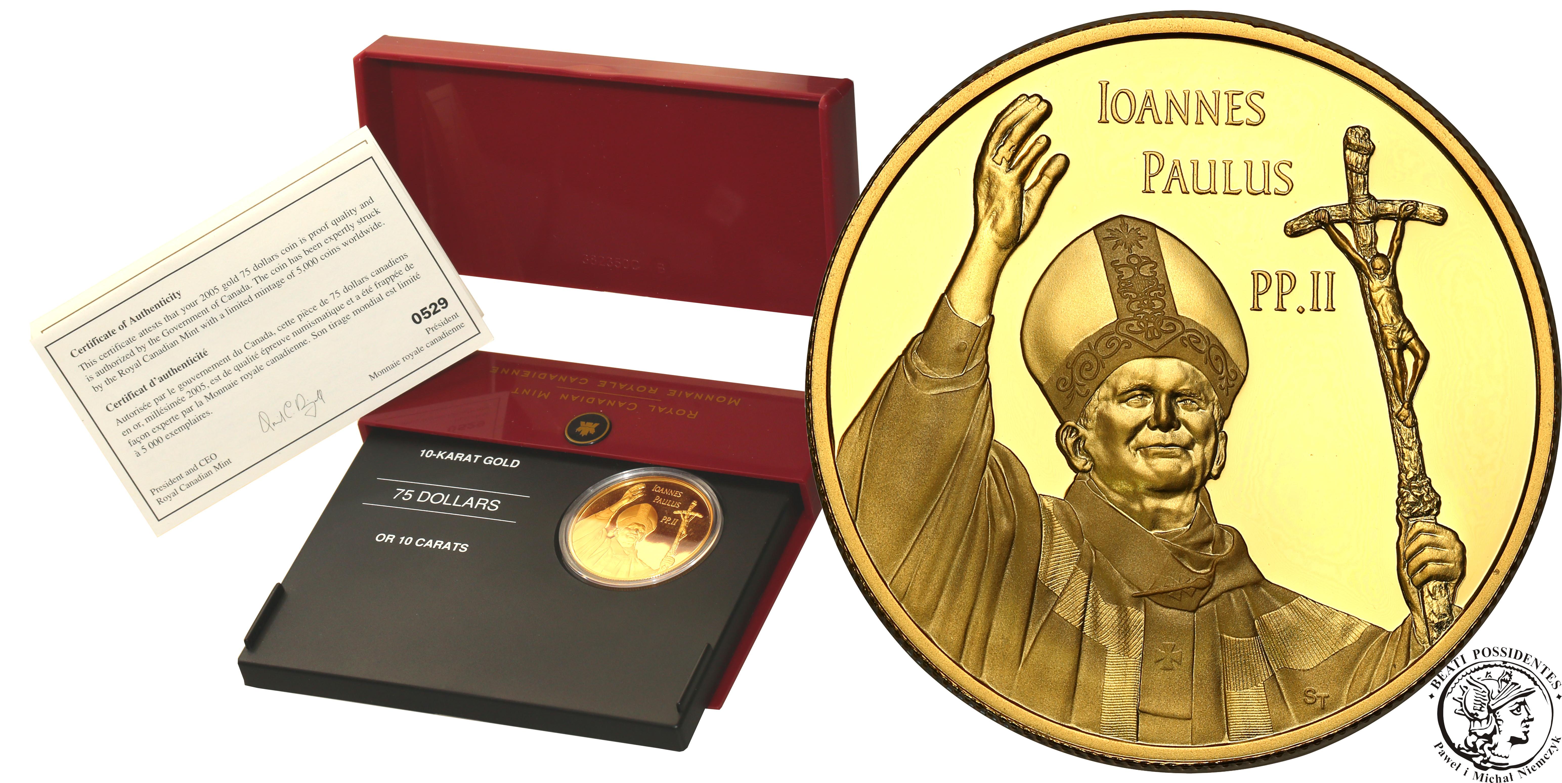 Kanada 75 dolarów 2005 Jan Paweł II st. L RZADKIE