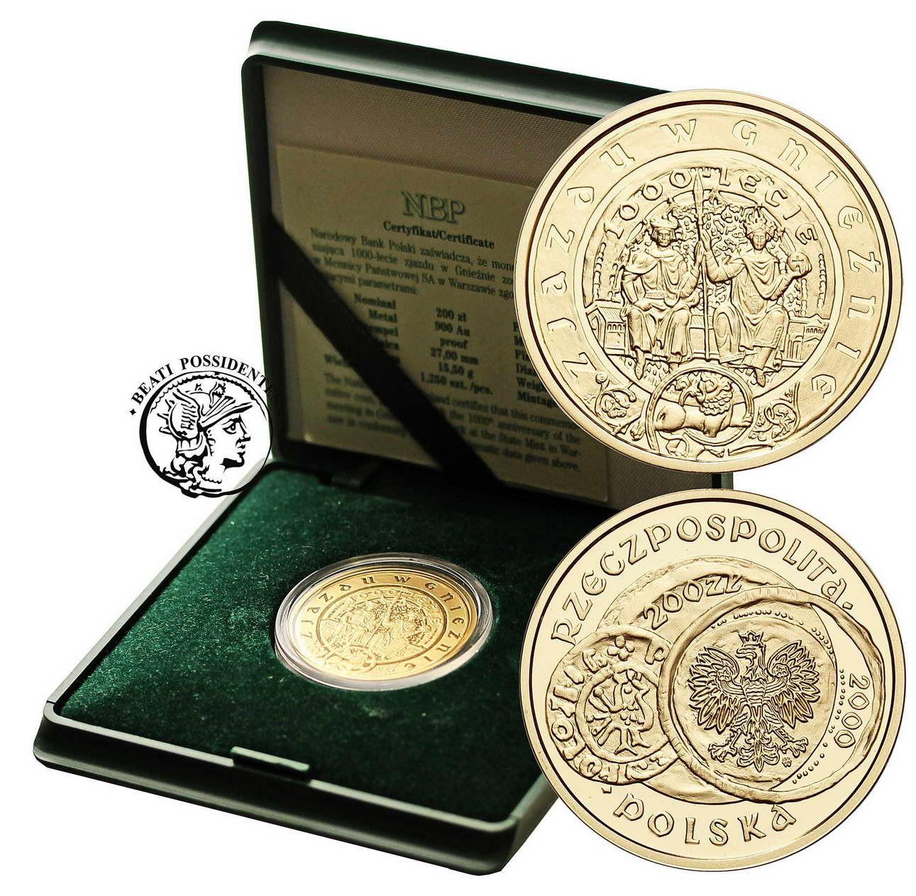 Polska III RP 200 złotych 2000 Zjazd w Gnieźnie - duże Gniezno st.L