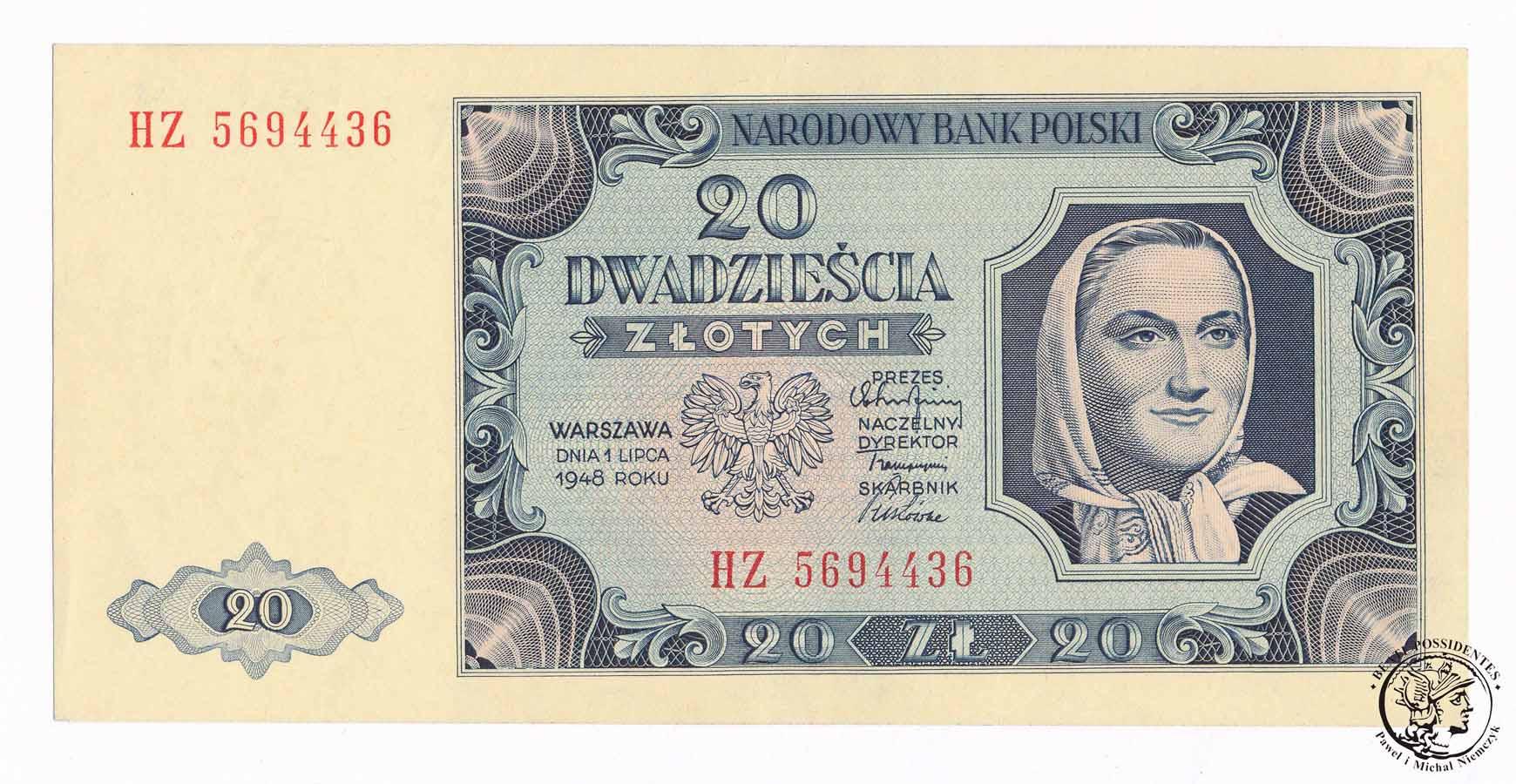 Banknot 20 złotych 1948 HZ st.1 (UNC) PIĘKNY