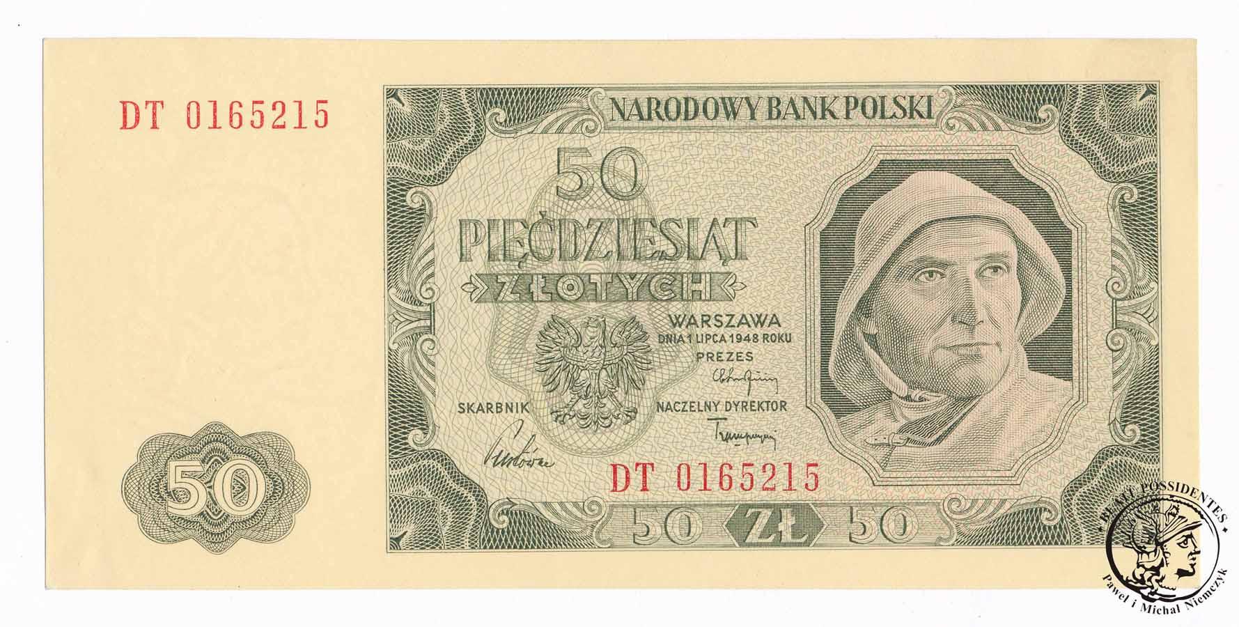 Banknot 50 złotych 1948 DT st.1 (UNC) PIĘKNY